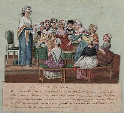 Font: Club de dones patriòtiques. Dibuix de Jean-Baptiste Lesueur, 1791. Museu Carnavalet